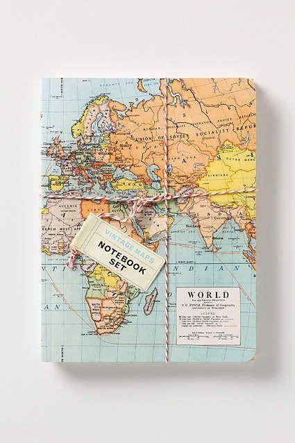 Vintage Map Notebooks Anthropologie Com Map Notebook Vintage Notebook Travel Journal