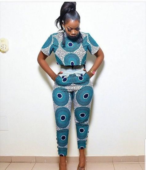 African two piece clothing,Ankara pants and matching crop top,African clothing for women,African dre