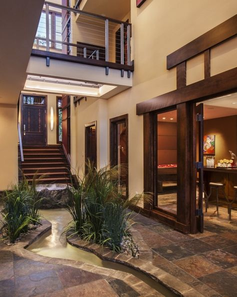 20 Haus Designs mit indoor Wassergarten  Schönes Zuhause  For - interieur mit holz lamellen haus design bilder