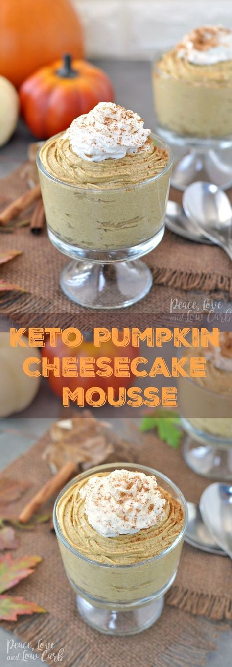 Keto Pumpkin Cheesecake Mousse - Peace Love and Low Carb via Peace, Love, and Lo.:: Keto may not be your sol Keto Desserts, Dessert Recipes, Keto Snacks, Keto Friendly Desserts, Healthy Pumpkin Desserts, Coffe Recipes, Paleo Treats, Paleo Dessert, Recipes Dinner