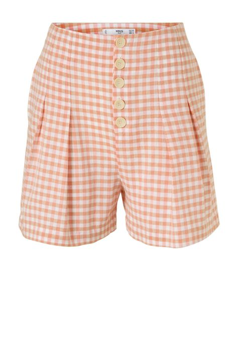 Mango geruite regular fit short geel/roze