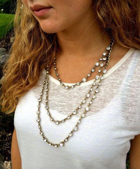 necklace Three Tier Cyrstal Necklace...