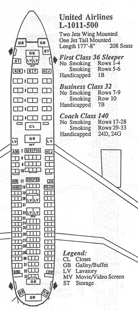 United Airlines Lockheed L 1011 Tristar Seat Map United Airlines Lockheed Tristar
