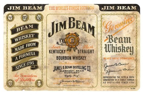 Jim Beam Bourbon Whiskey Jim Beam Vintage Alcohol Labels Whiskey Label