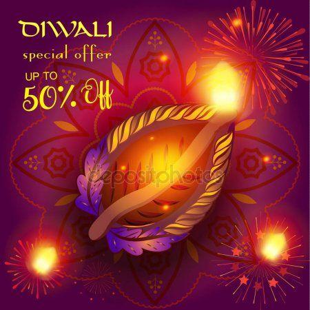Vector Diwali sale prosperous banner burning diya oil lamp