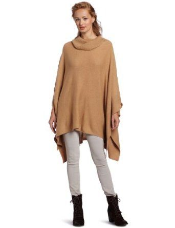 Sofie Women's 100% Cashmere Cowl Neck Cashmere Poncho Sweater, Brown Sugar, One Size