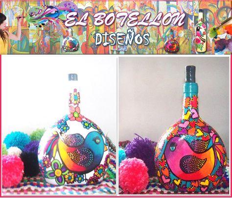 Decoración Hogar Botellas Recicladas Pintadas A Mano Diseño