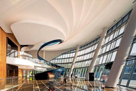 shanghai international dance complex features gently curved buildings