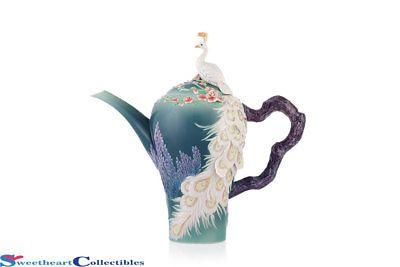 Franz Porcelain White Peacock Teapot Tea Pots Tea Cup Collection White Peacock