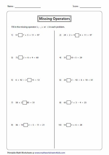 Math Worksheets Grid Puzzle Worksheets All Operations with - order of operations worksheet