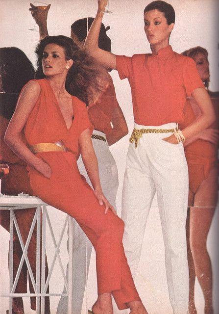 1979 Model(s): Gia Carangi, Janice Dickinson. Photographer: Mike Reinhardt Designer(s): * (Hair & Makeup: Rick Gilette)