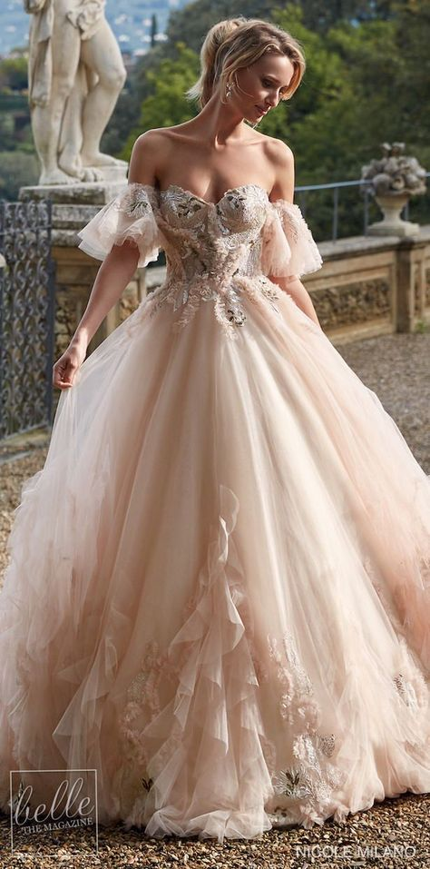 Cinderella style colored wedding dress ball gown with corset and ruffled skirt with short balloon sleeves | Nicole Milano Wedding Dresses 2021 Collection - Belle The Magazine #weddingdress #weddingdresses #bridalgown #bridal #bridalgowns #weddinggown #bridetobe #weddings #bride #dreamdress #bridalcollection #bridaldress #dress See more gorgeous bridal gowns by clicking on the photo Extravagant Wedding Dresses, Country Wedding Dresses, Colored Wedding Dresses, Dream Wedding Dresses, Wedding Dresses With Ruffles, Corset Wedding Dresses, Wedding Dresses With Color, Rustic Wedding Gowns, Luxury Wedding