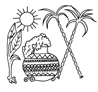 Pongal Festival Black And White Images Pongal Celebration Emoji Coloring Pages Outline Images