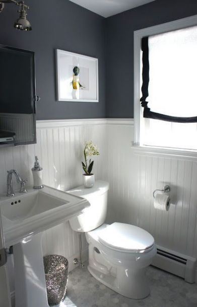 New Half Wall Wood Paneling Makeover Small Bathrooms Ideas Information In 2020 Small Bathroom Paint Paneling Makeover Small Bathroom