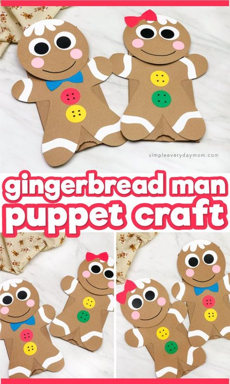 This brown paper bag gingerbread man puppet is a fun Christmas craft for kids of all ages from preschool, to kindergarten and elementary age. It comes with a free printable template so it's a simple DIY project kids will love! #simpleeverydaymom #kidscrafts #craftsf #bag #Craft #Gingerbread #man #Paper #Puppet