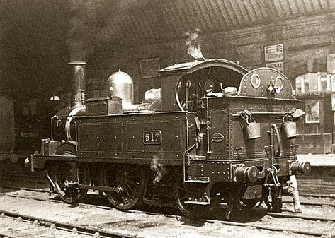"""The prototype of the """"517"""" Class, 0-4-2T No. 517, impeccably turned out at Birmingham Snow"""