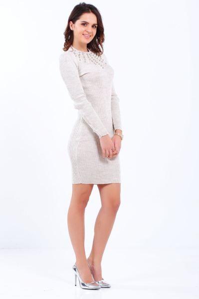 Elbise Yaka Tas Detay Krem Triko Elbise Gotik Moda Alisveris Cool Bayan Gunluk Giyim Gunluk Butik Abiye Dugun Genc Triko Elbise Modelleri Elbise