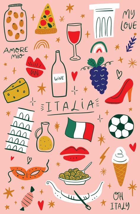 Modern cartoon colorful flat stylized set of Italian icons, symbols, cute illustrations. Doodle
