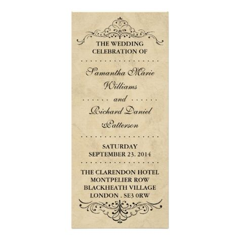 Elegant Vintage Ornate Swirl Wedding Programs Rack Card Design - how to design wedding program template