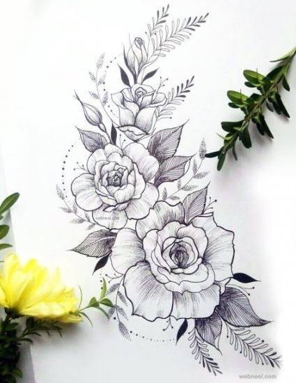 Flowers Design Outline Rose Tattoos 22 Super Ideas Flower Tattoo Drawings Flower Drawing Flower Drawing Design