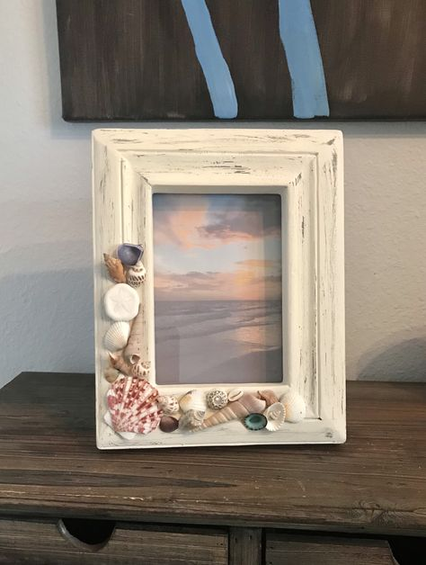Excited to share the latest addition to my #etsy shop: 5x7 Beach Frame, Shell Frame, Picture Frame, Rustic Frame #white #wood #yes #coastaltropical #5x7 #woodbeachframe #whiteframe #pictureframe #buyme #forsale #beachdecor #beachhouse #rusticframe #distressedframe #shellframe #uniquedecor
