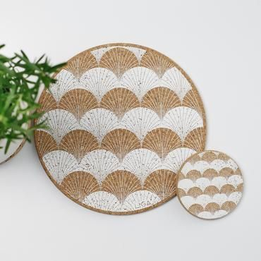 Cork Scallop Placemat Placemats Coasters Art Deco Inspired