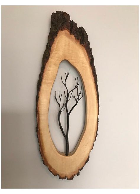 Wood Log Crafts, Wood Slice Crafts, Driftwood Crafts, Rustic Wall Art, Rustic Walls, Metal Wall Art, Woodworking Projects Diy, Diy Wood Projects, Woodworking Shop