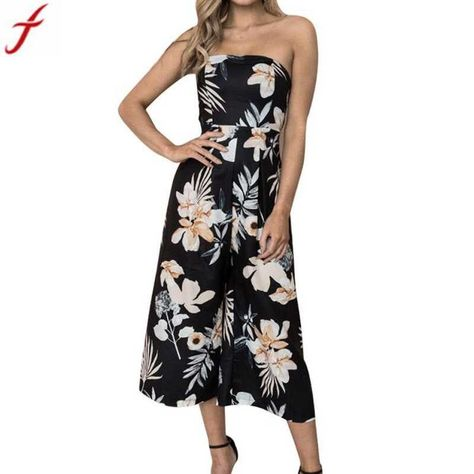 fd74eeb5a1c Off shoulder long jumpsuit romper boho 2018 women ladies sexy floral print playsuit  summer sleeveless women s rompers 4  polyester  jumpsuits  bohemian ...