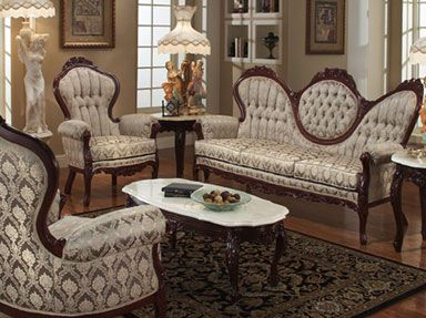 Victorian Style Sofa And Arm Chairs