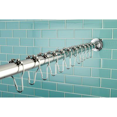 Kingston Brass Edenscape 72 Adjustable Straight Fixed Shower Curtain Rod Hook Set Shower Curtain Rods Curtain