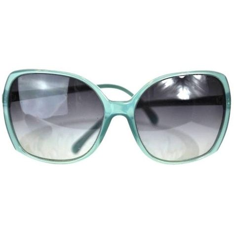 e821a5605a Pre-owned Chanel Teal Oversized Frame Cc Sunglasses-5204 (£160) ❤ liked on  Polyvore featuring accessories