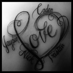 Heart Tattoo Designs With Kids Names