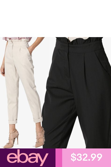 TheMogan Elastic Waist Stretch Crepe Tapered Leg Pants Mid Rise Pull-On Trousers