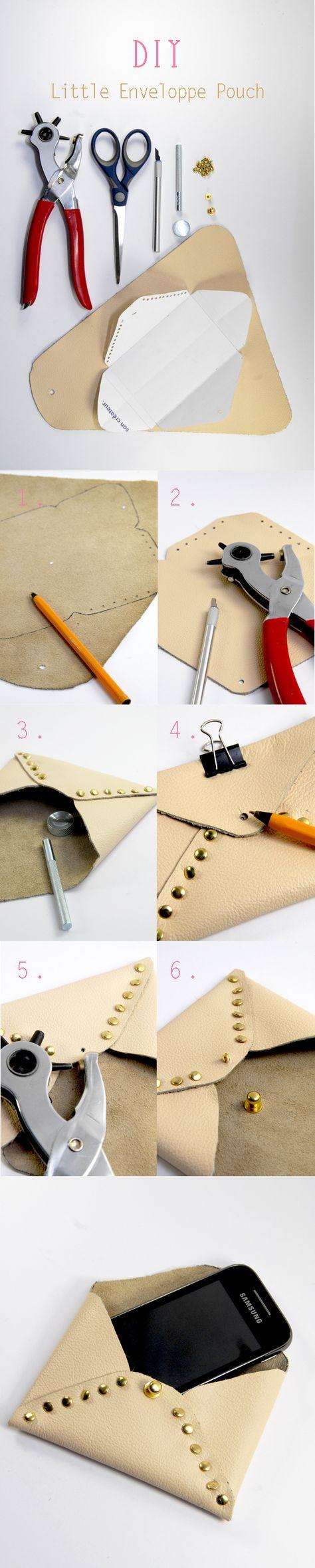 Tuto comment faire un étui de portable « enveloppe rivetée » en cuir