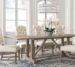 Linden Dining Table Gray Pottery Barn Rustic Farmhouse Dining