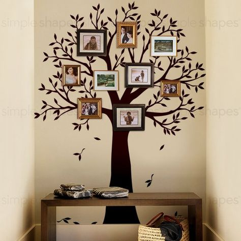 Narrow Family Tree Decal Photo Frame Tree Decal Tree Wall