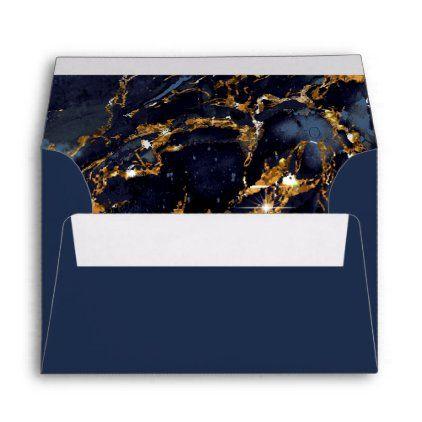 Marble Glitter Wedding Navy Blue Gold Id644 Envelope Zazzle Com In 2020 Glitter Wedding Navy Blue Wedding Navy Wedding