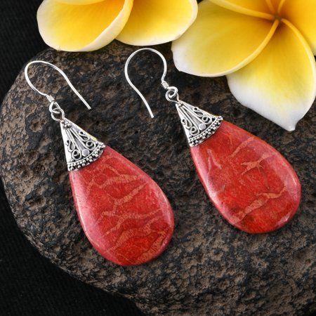 925 Sterling Silver Sponge Coral Drop Dangle Earrings Women Jewellery for Gift