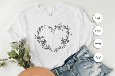 Flower heart svg digital design/ Heart frame svg