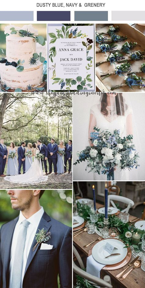 dusty blue,navy and greenery organic modern wedding colors Incredible Ideas for Fall Wedding Decorations Fall Wedding Colors, Wedding Color Schemes, Wedding Flowers, Wedding Color Palettes, Navy Blue Wedding Theme, Periwinkle Wedding, Wedding Greenery, Colors For Weddings, Color Themes For Wedding