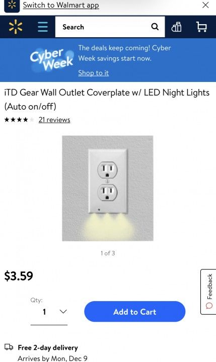 Outlet Wall Plate With Led Night Lights No Batteries Or Wires Nacychoice Led Night Light Night Light Plates On Wall