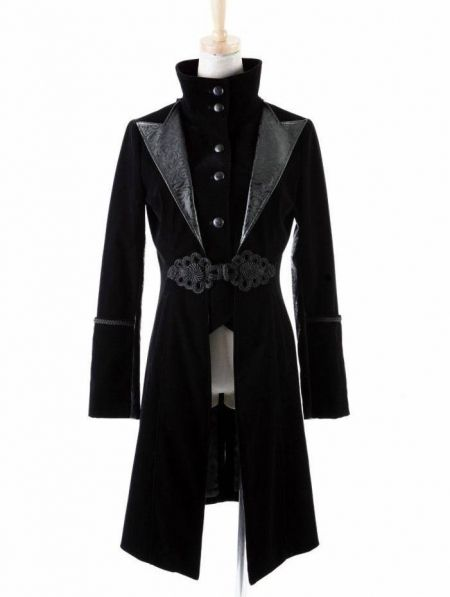 attractive style latest selection in stock Black Velvet Gothic Chinese Style Trench Coat for Women and ...