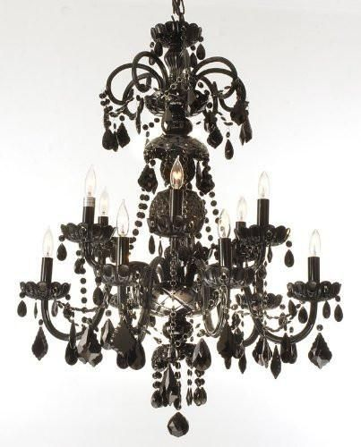 Authentic All Crystal Chandelier Jet Black Crystal H30 X W28 Go A46 Black 590 12 Black Crystal Chandelier Crystal Chandelier Black Chandelier