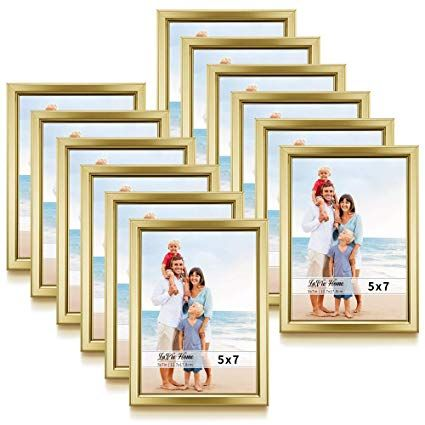 Amazon Com Lavie Home 5x7 Picture Frames 12 Pack Gold Simple Designed Photo Frame With High Defin Wall Mounted Table Photo Frame Design 5x7 Picture Frames 5 x 7 picture frames