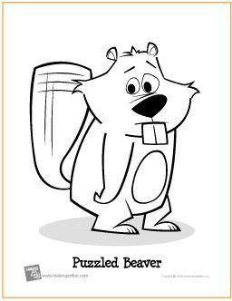 Puzzled Beaver Free Printable Coloring Page Makingartfun Com