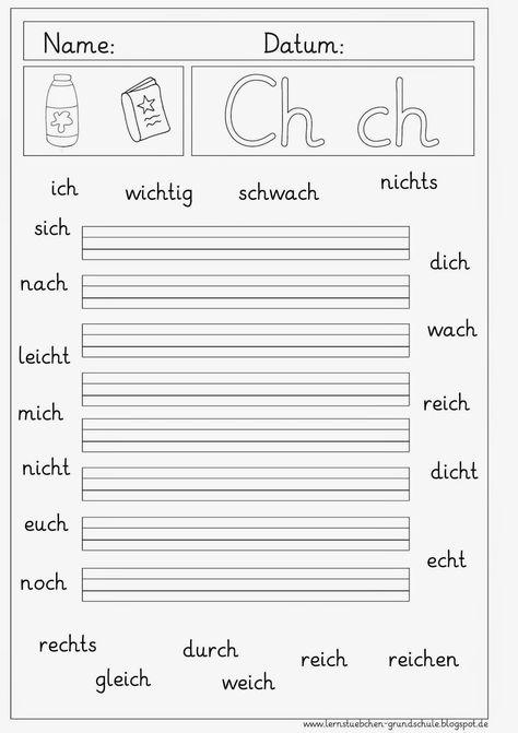Arbeitsblätter Zum Ch Ch Deutsch Unterricht Deutsche