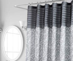 Aprima Gray Pintuck Medallion Shower Curtain Curtains Shower