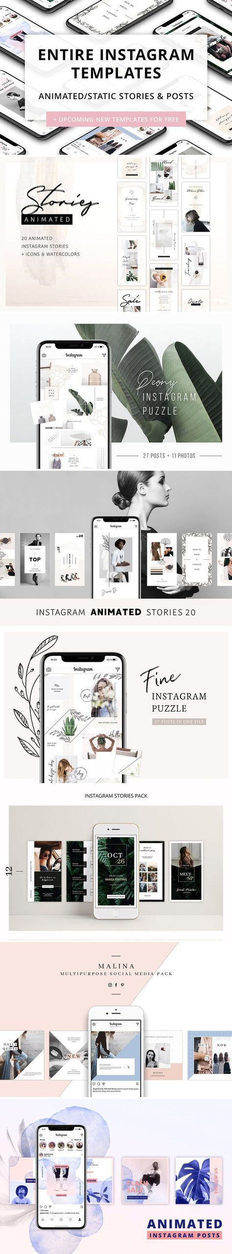 Entire Instagram Templates by AgataCreate on @creativemarket #inspiration #ideas #design #graphicdesign #graphic #instagram #socialmedia #socialmediamarketing