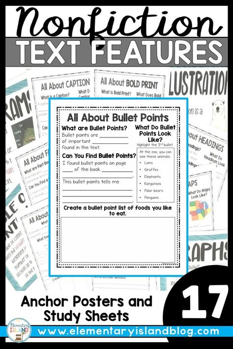 Nonfiction Text Features Worksheets And Posters Practicum Lessons