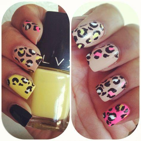I Love Doing Nail Art Cheetah Nails Made By Me Pinterest